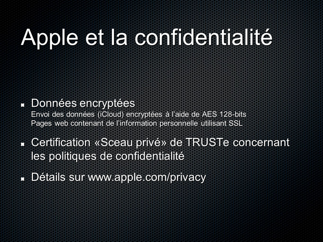 Apple et la confidentialité