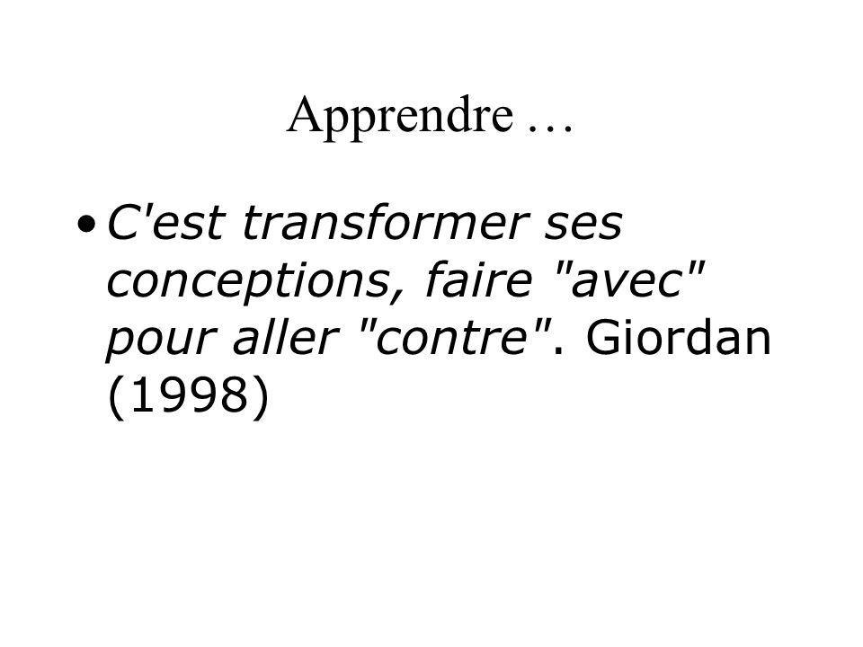Apprendre … C est transformer ses conceptions, faire avec pour aller contre . Giordan (1998)