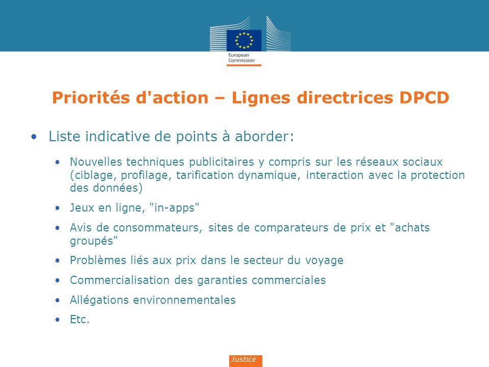 Priorités d action – Lignes directrices DPCD