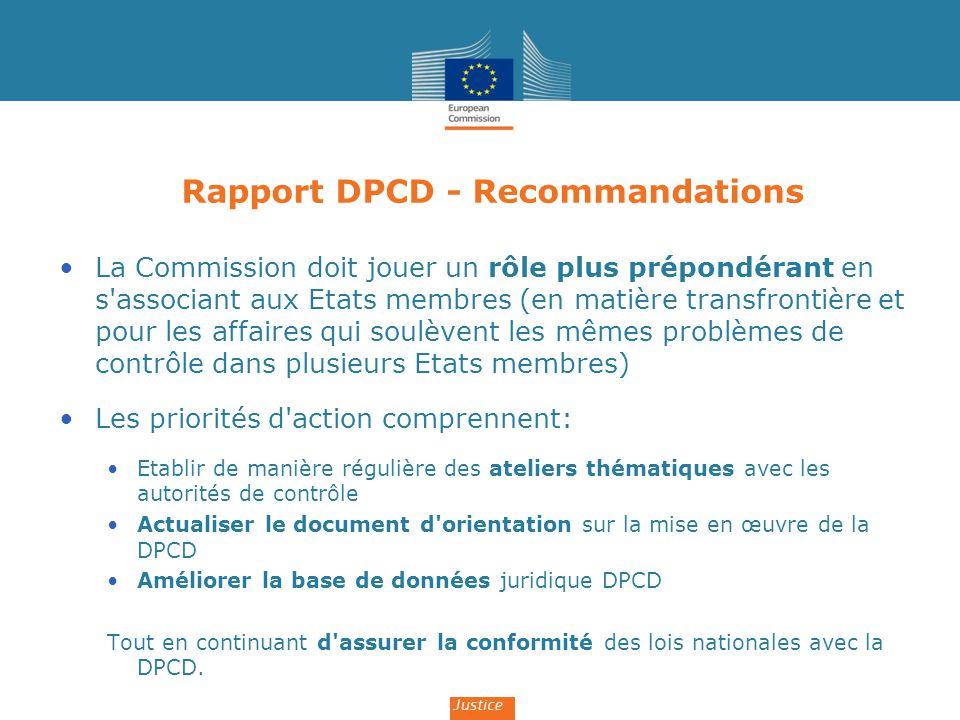Rapport DPCD - Recommandations