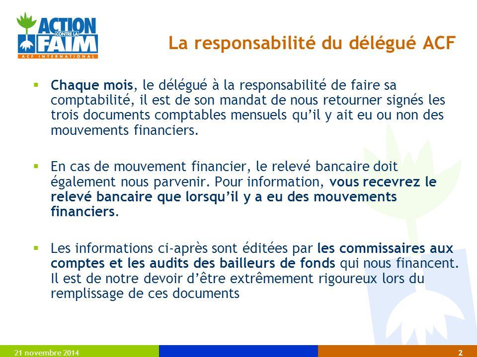 La responsabilité du délégué ACF