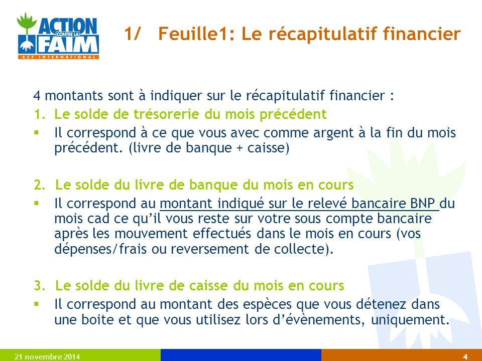 1/ Feuille1: Le récapitulatif financier