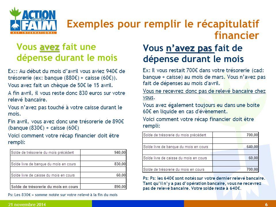 Exemples pour remplir le récapitulatif financier