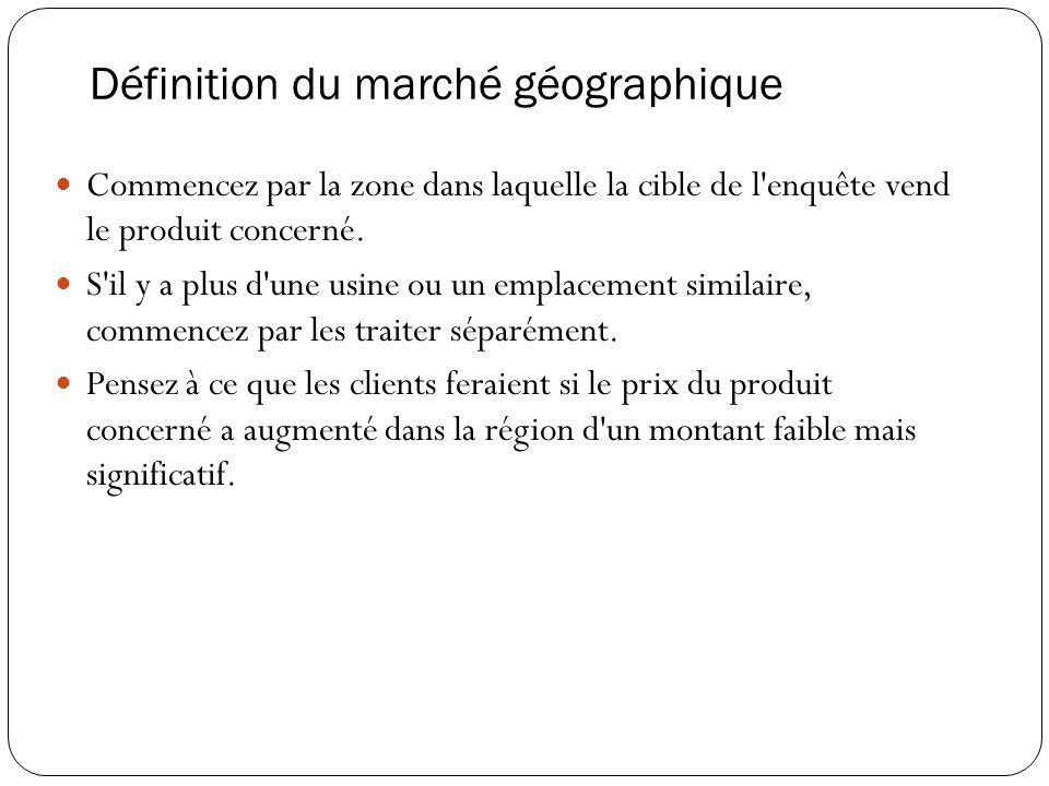 Définition du marché géographique