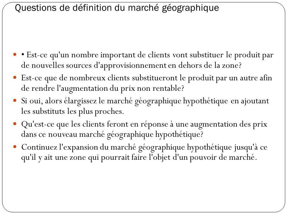 Questions de définition du marché géographique