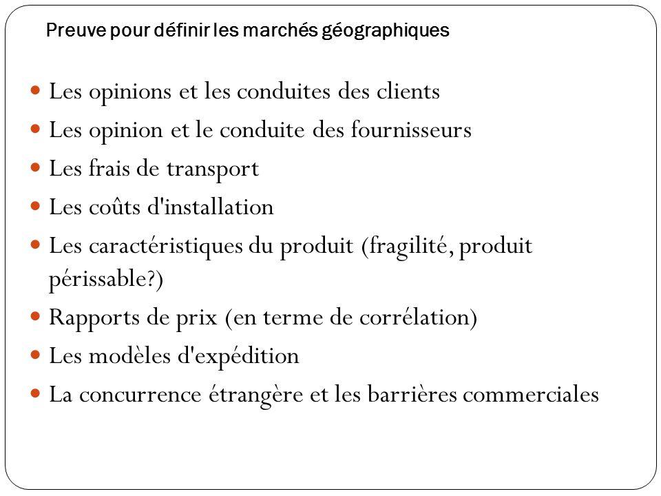 Preuve pour définir les marchés géographiques