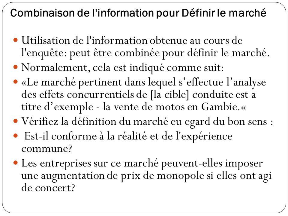 Combinaison de l information pour Définir le marché