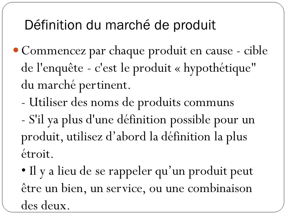 Définition du marché de produit