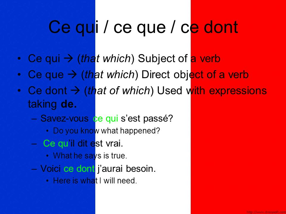 Ce qui / ce que / ce dont Ce qui  (that which) Subject of a verb