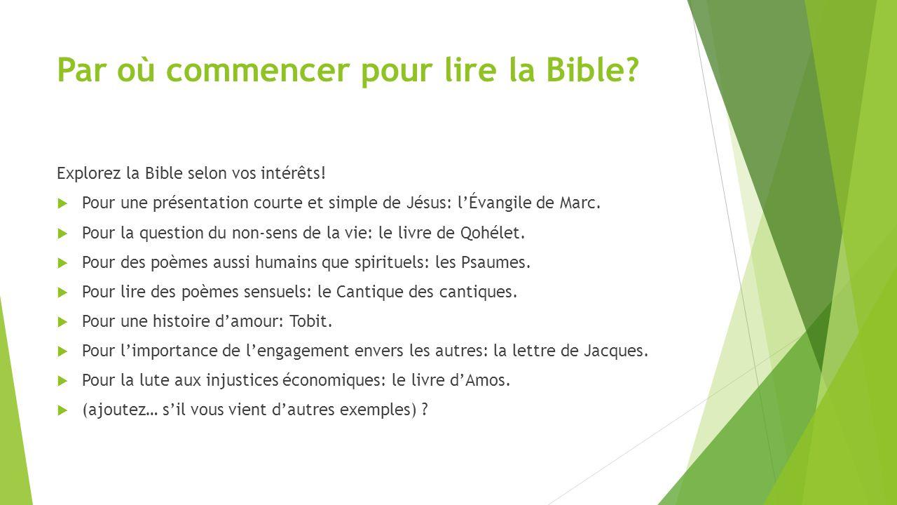 Par où commencer pour lire la Bible