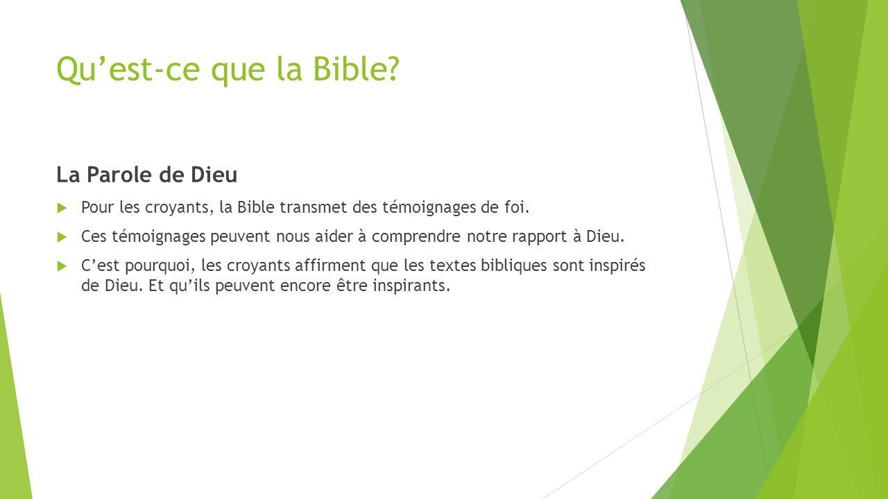 Qu'est-ce que la Bible La Parole de Dieu