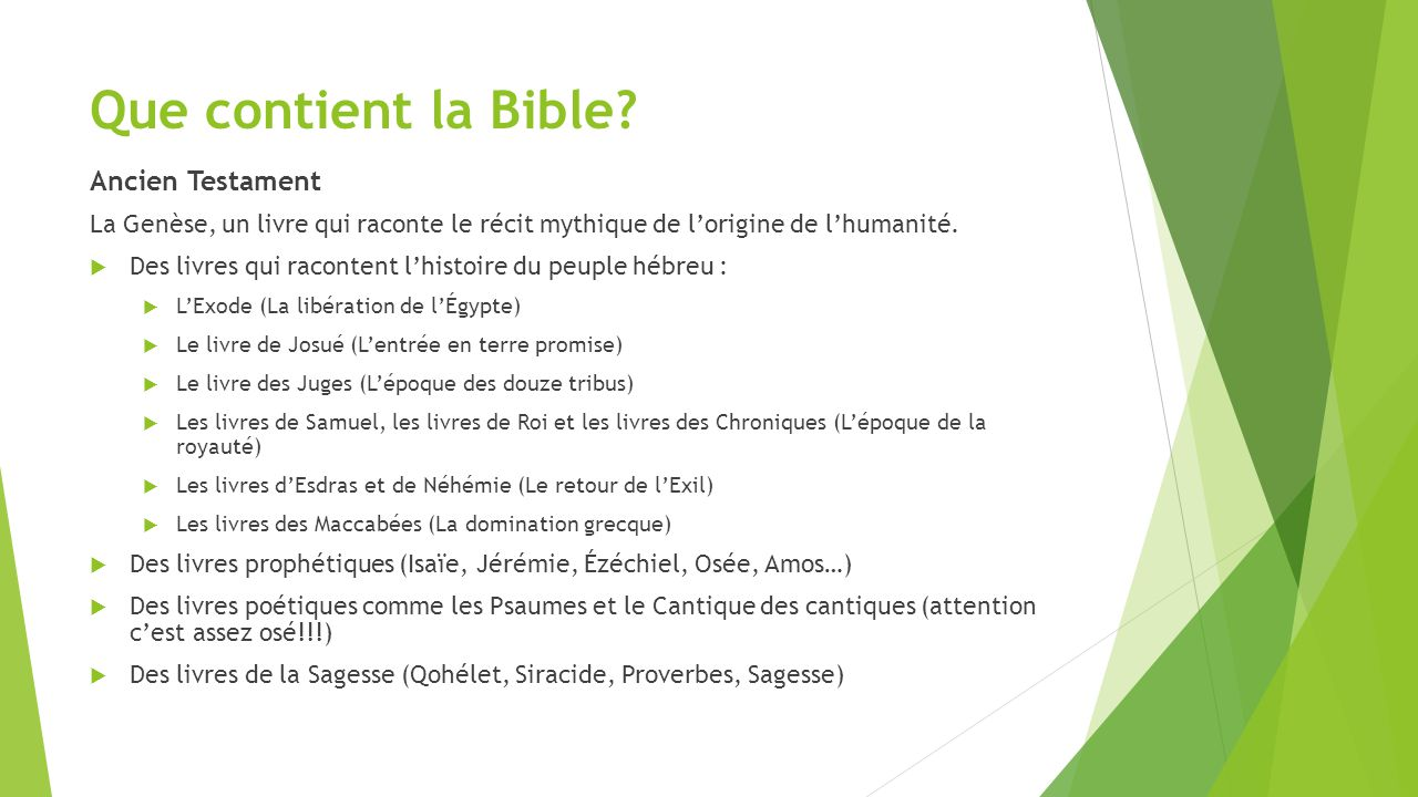 Que contient la Bible Ancien Testament