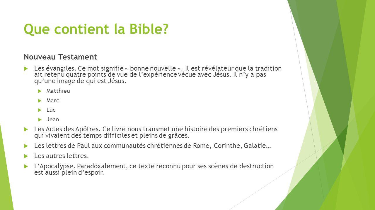 Que contient la Bible Nouveau Testament
