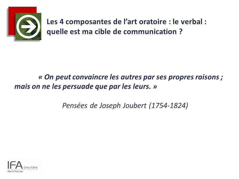 Les 4 composantes de l'art oratoire : le verbal : quelle est ma cible de communication