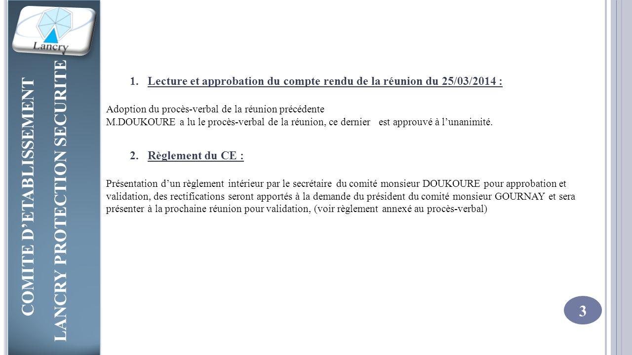Lecture et approbation du compte rendu de la réunion du 25/03/2014 :
