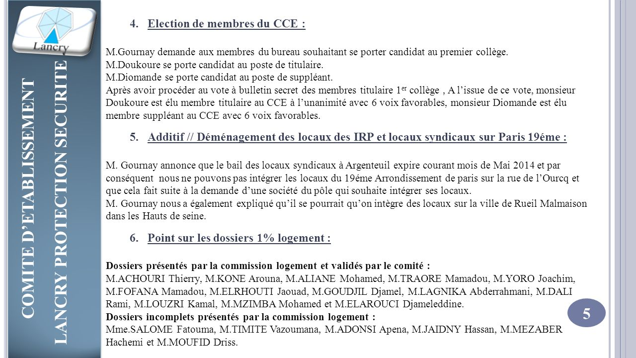 Election de membres du CCE :