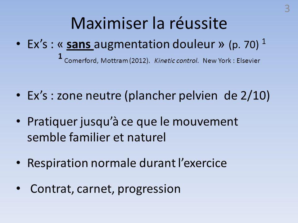 Maximiser la réussite Ex's : « sans augmentation douleur » (p. 70) 1