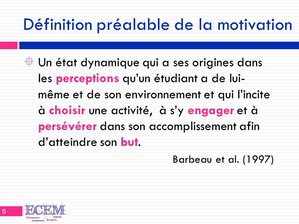 Définition préalable de la motivation