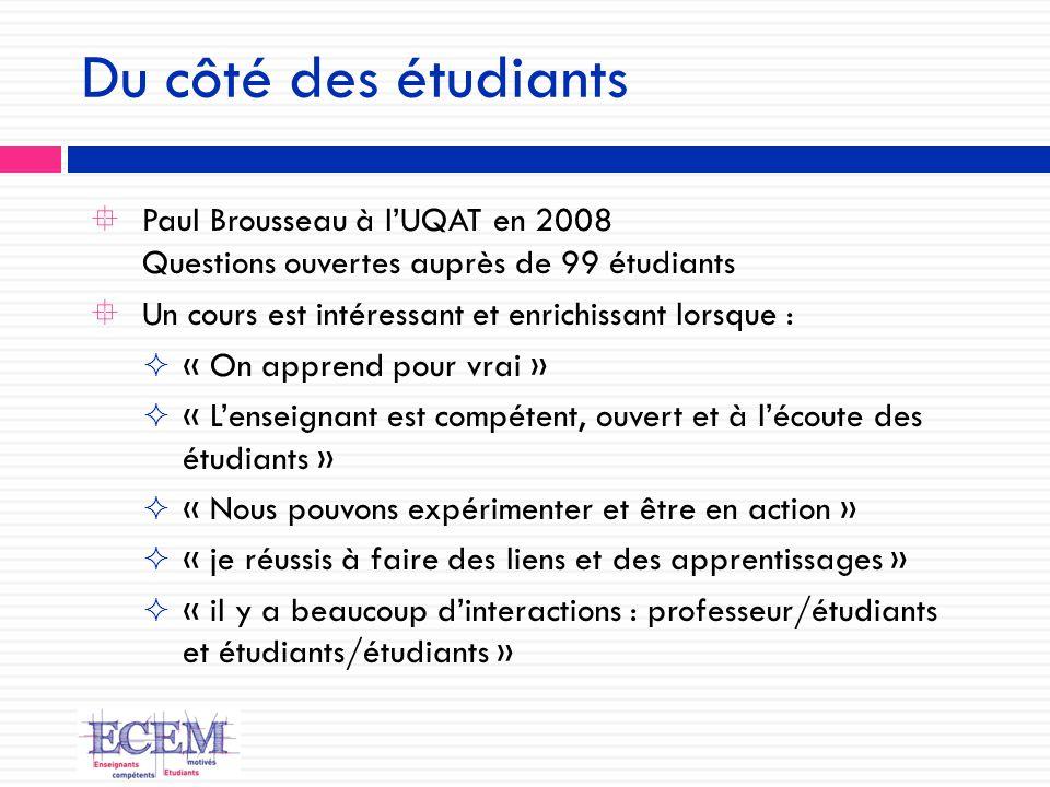 Du côté des étudiants Paul Brousseau à l'UQAT en 2008 Questions ouvertes auprès de 99 étudiants. Un cours est intéressant et enrichissant lorsque :