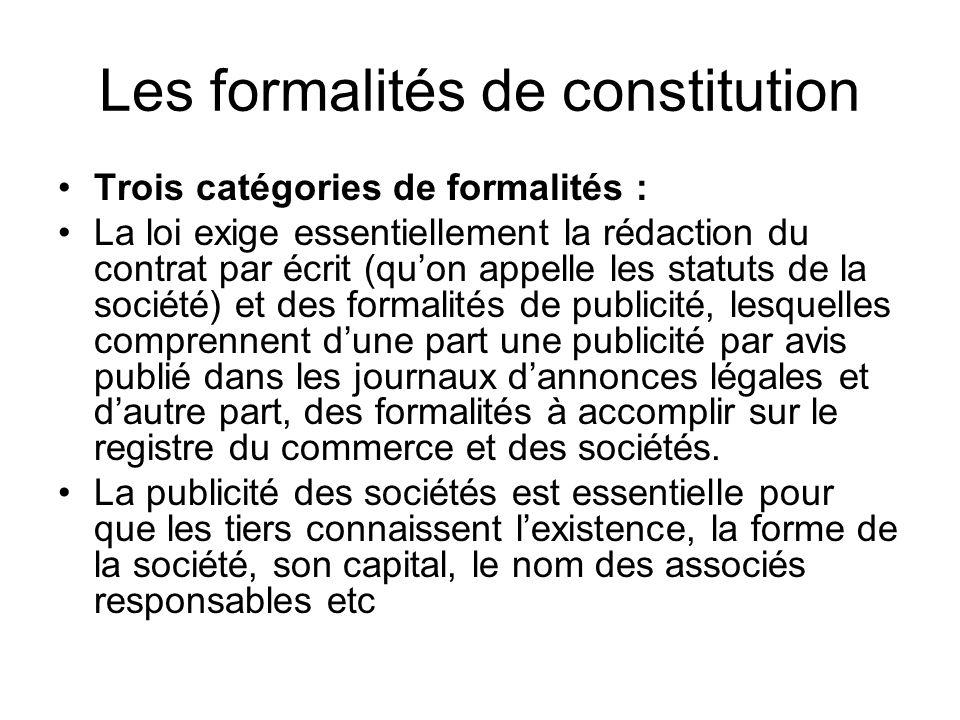 Les formalités de constitution