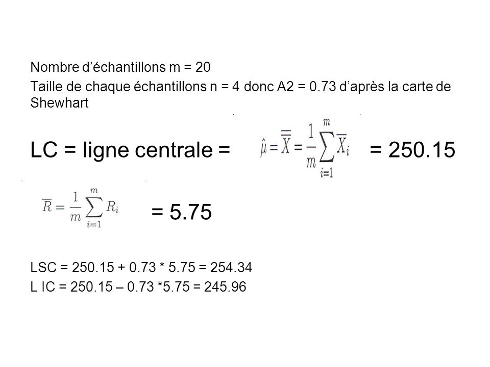 LC = ligne centrale = = 250.15 = 5.75 Nombre d'échantillons m = 20