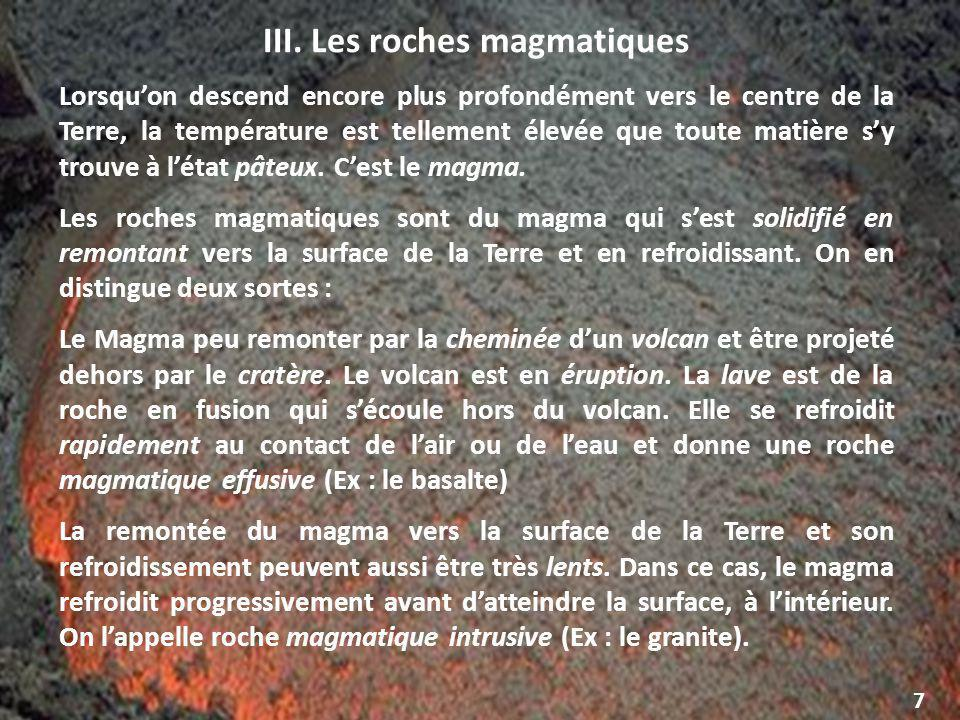 III. Les roches magmatiques
