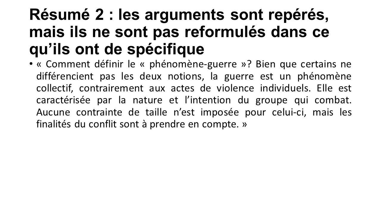 Résumé 2 : les arguments sont repérés, mais ils ne sont pas reformulés dans ce qu'ils ont de spécifique