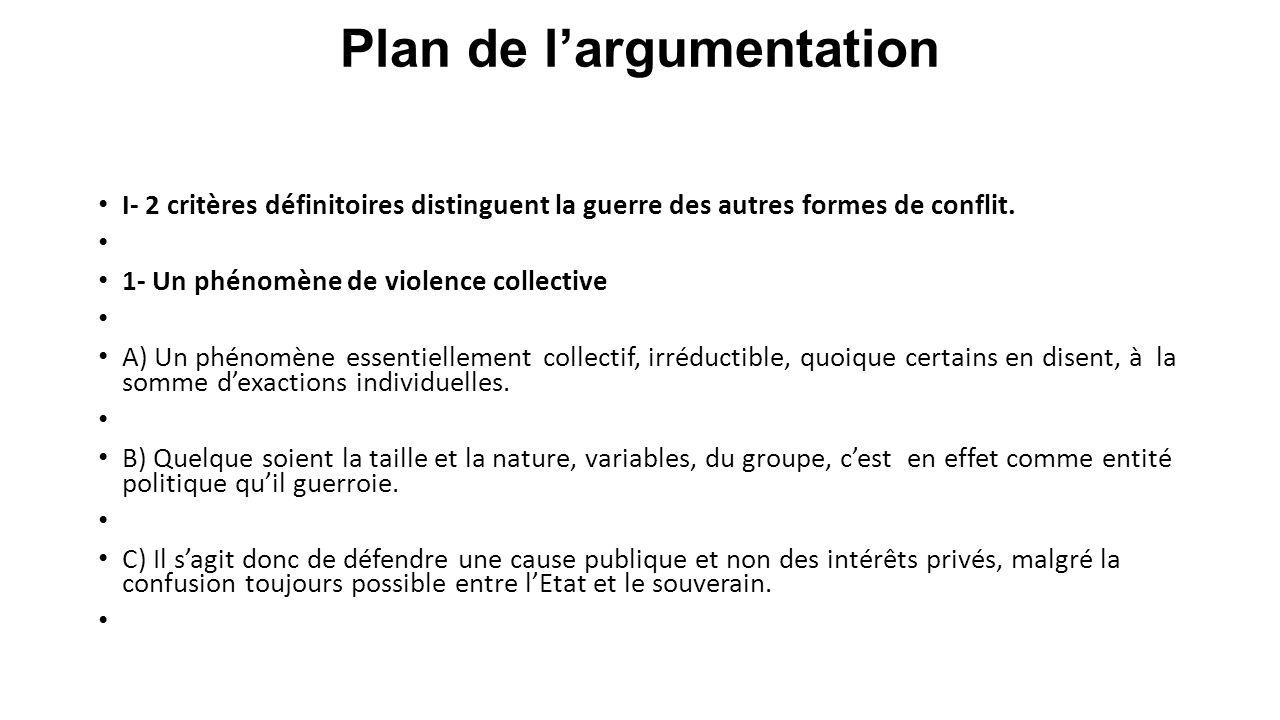 Plan de l'argumentation