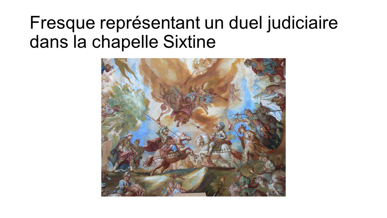 Fresque représentant un duel judiciaire dans la chapelle Sixtine