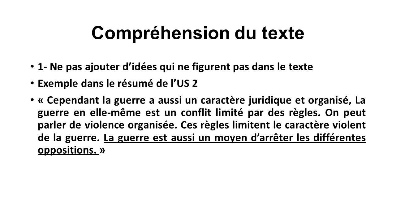Compréhension du texte