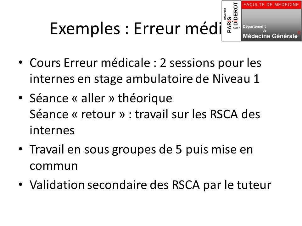 Exemples : Erreur médicale