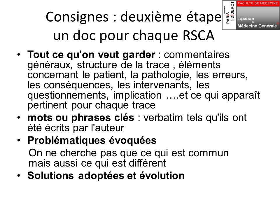 Consignes : deuxième étape un doc pour chaque RSCA