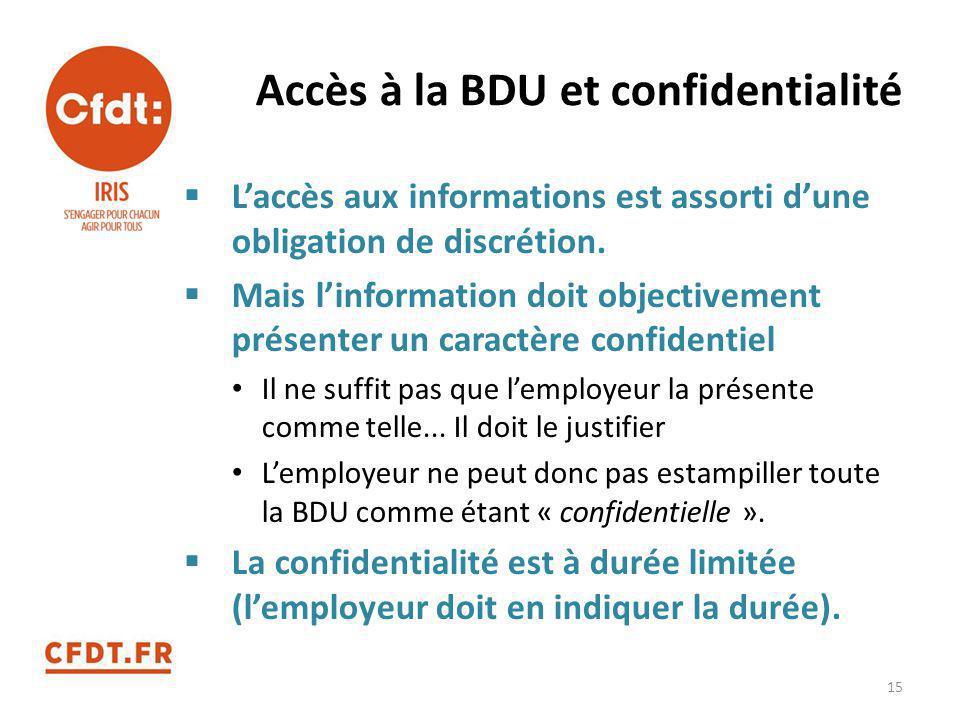 Accès à la BDU et confidentialité