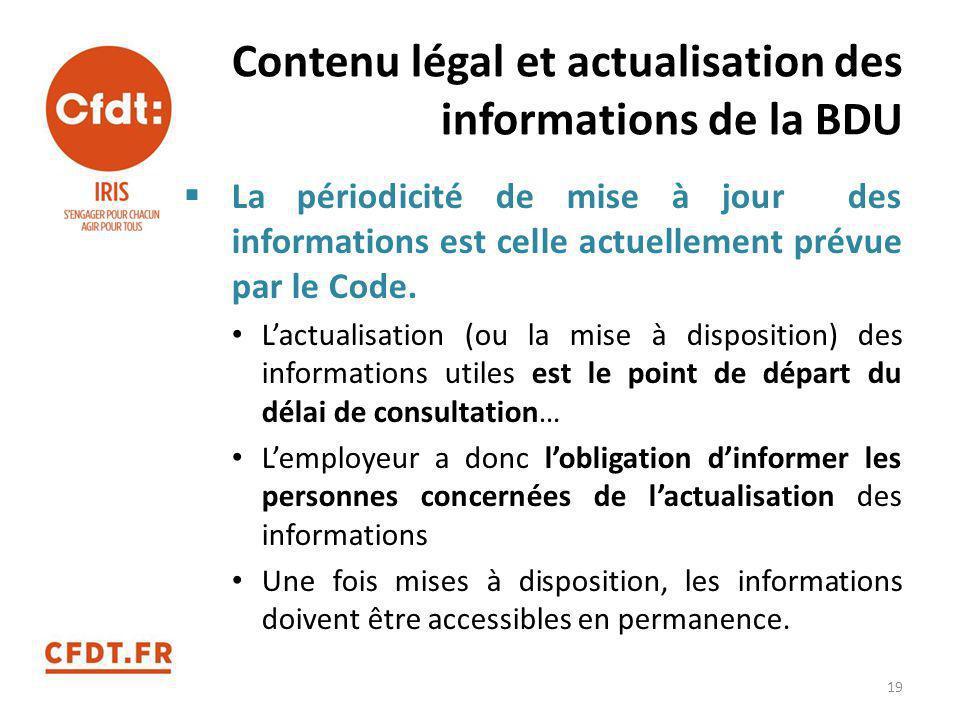 Contenu légal et actualisation des informations de la BDU