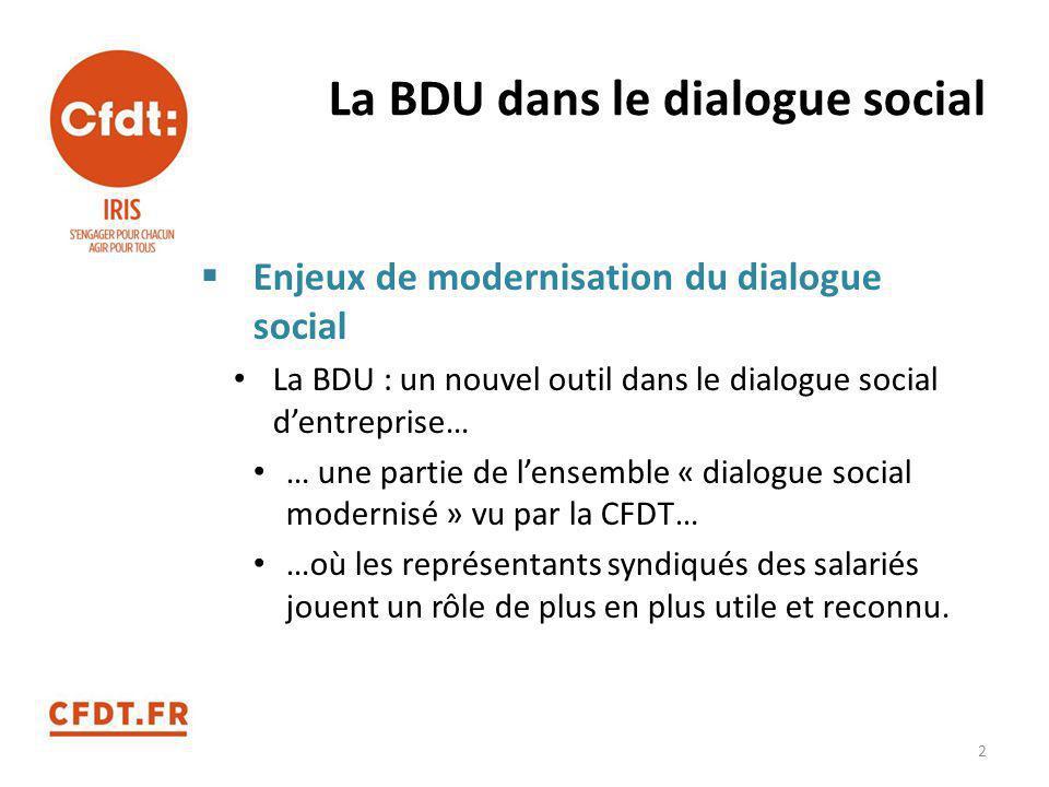 La BDU dans le dialogue social