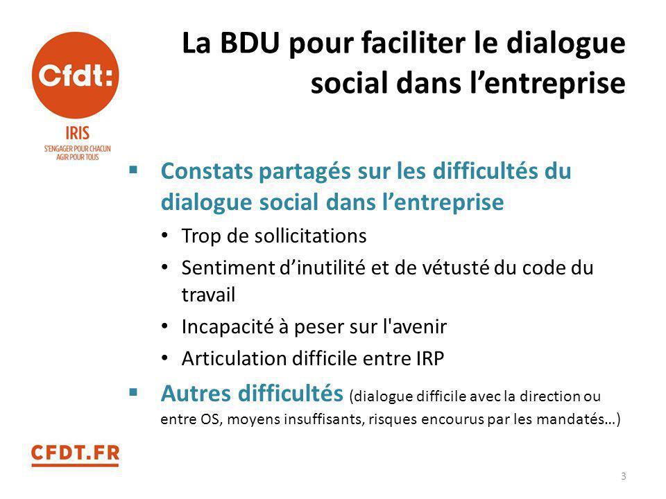La BDU pour faciliter le dialogue social dans l'entreprise