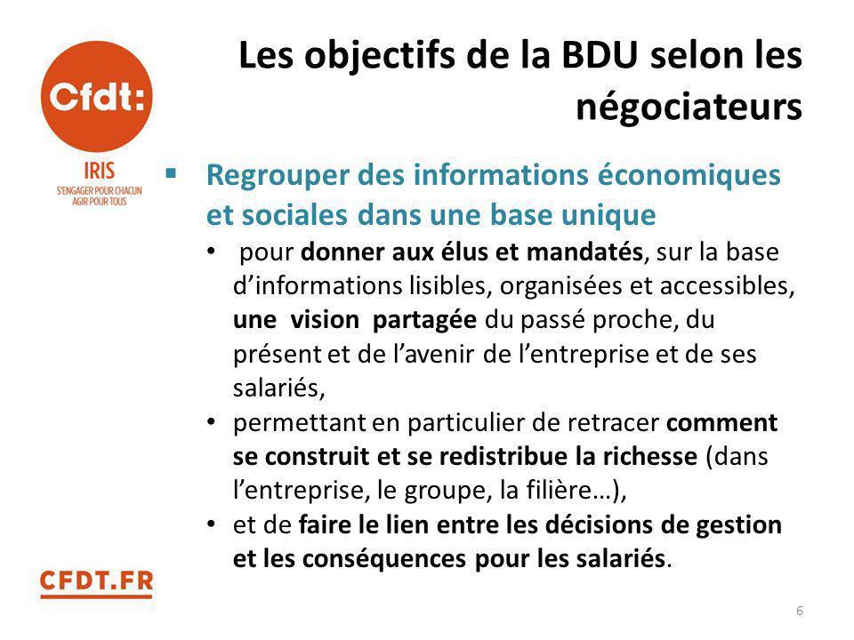 Les objectifs de la BDU selon les négociateurs