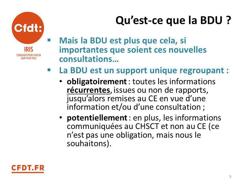 Qu'est-ce que la BDU Mais la BDU est plus que cela, si importantes que soient ces nouvelles consultations…