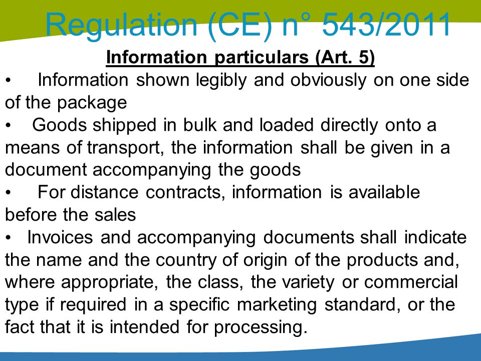 Information particulars (Art. 5)