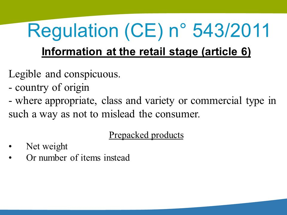 Information at the retail stage (article 6)