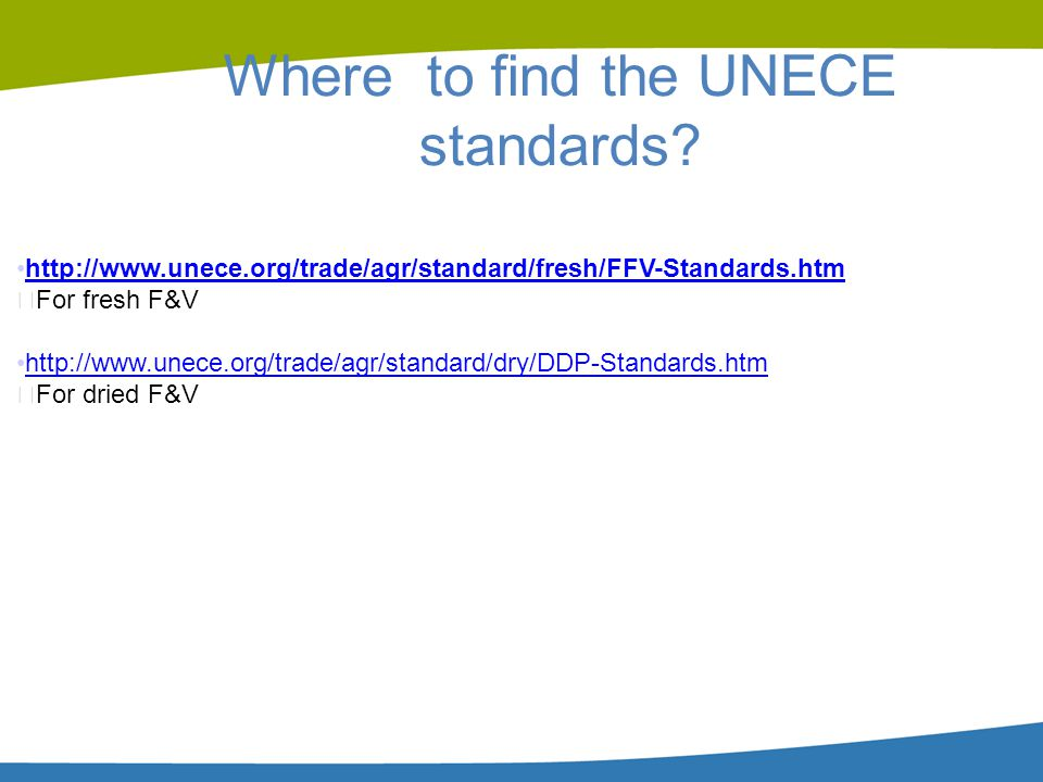 Where to find the UNECE standards
