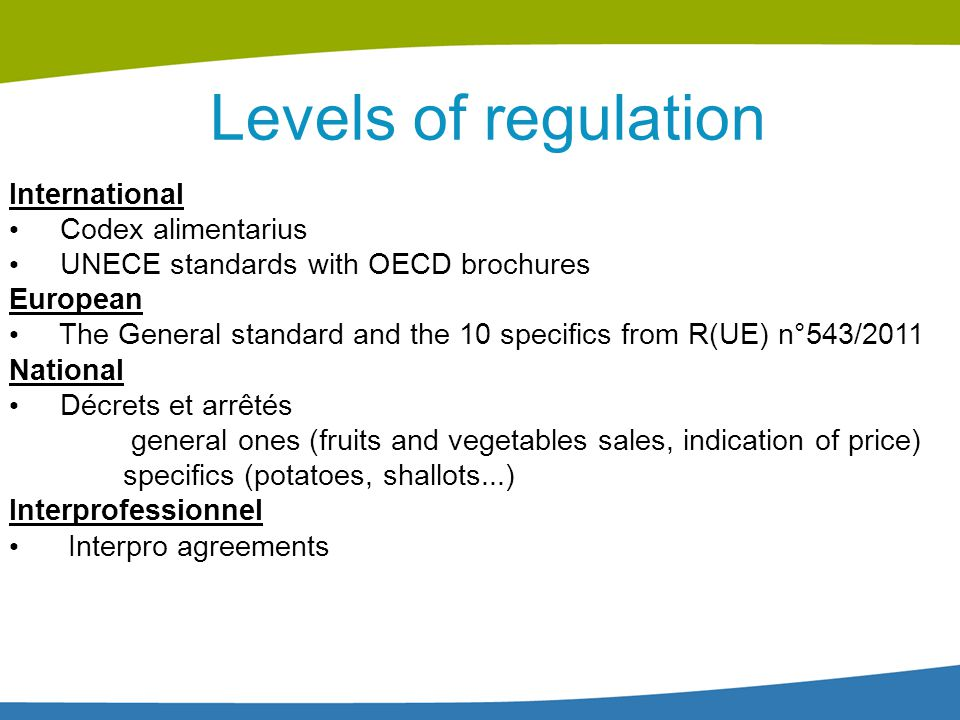 Levels of regulation International Codex alimentarius