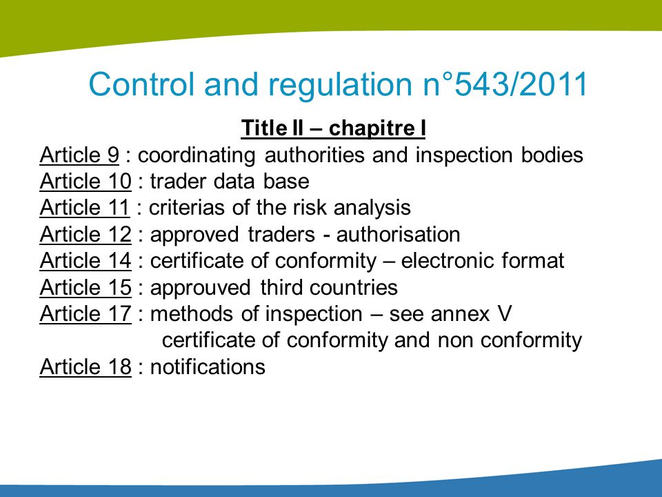 Control and regulation n°543/2011