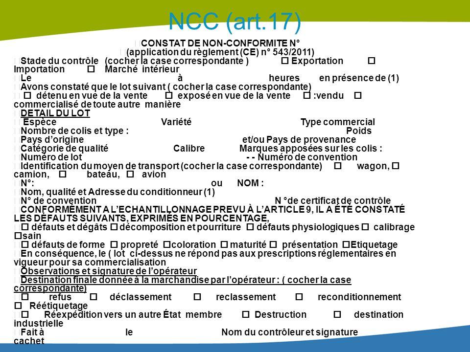 NCC (art.17) CONSTAT DE NON-CONFORMITE N°