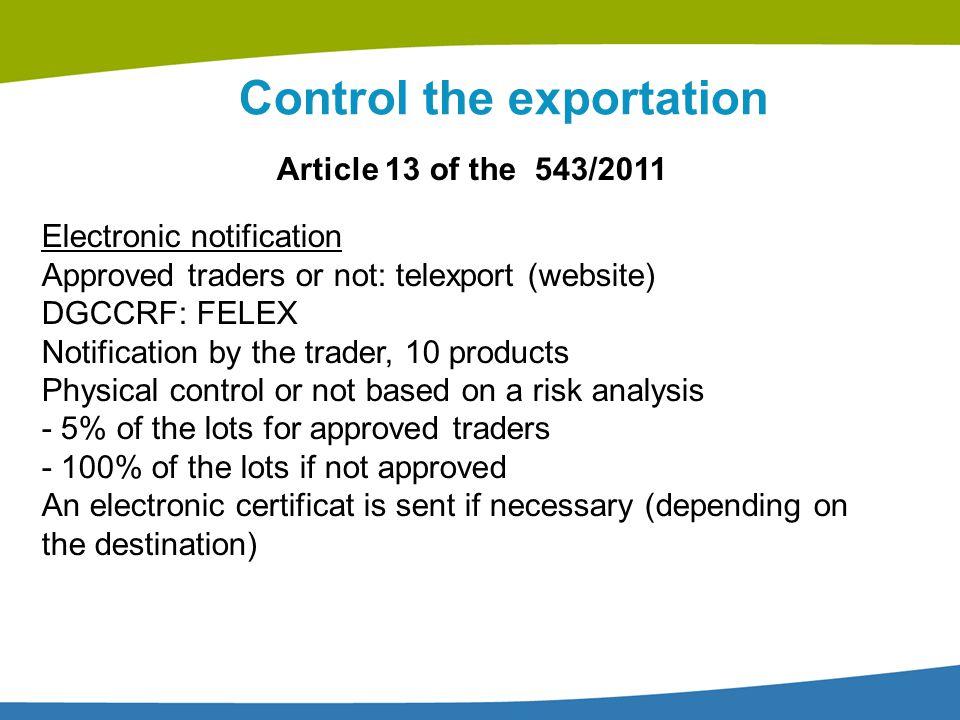 Control the exportation