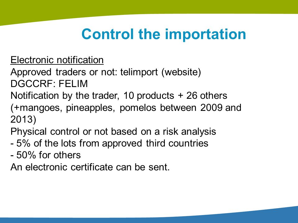 Control the importation