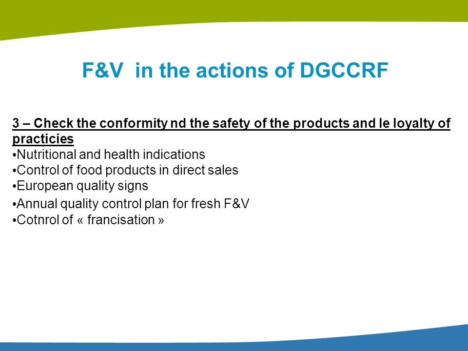 F&V in the actions of DGCCRF
