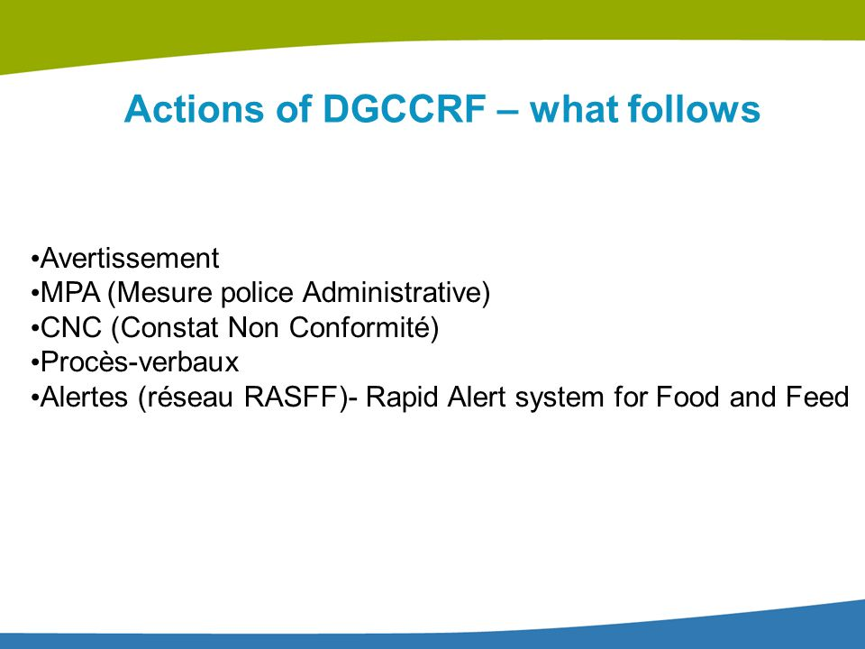 Actions of DGCCRF – what follows