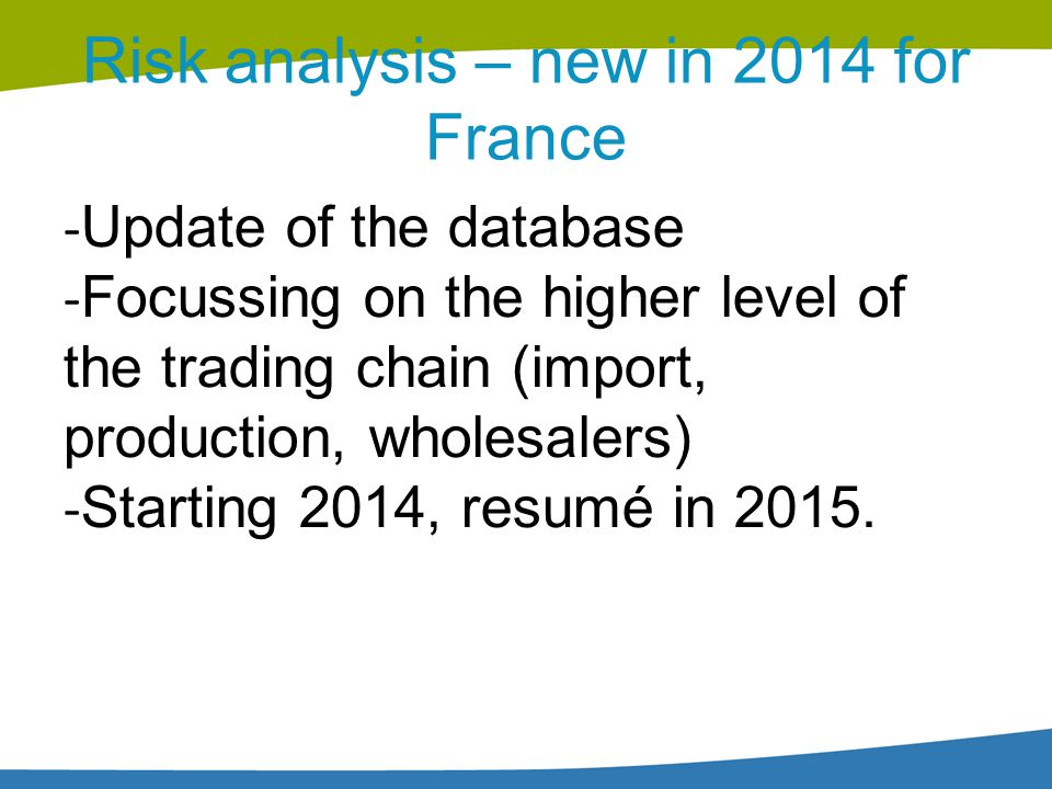 Risk analysis – new in 2014 for France