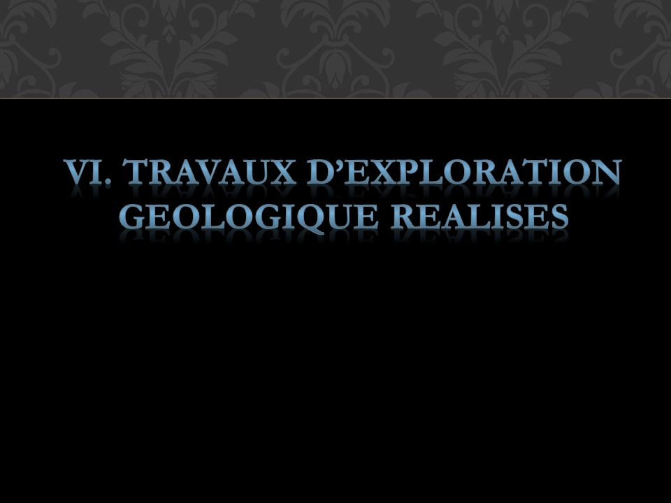 VI. TRAVAUX D'EXPLORATION GEOLOGIQUE REALISES